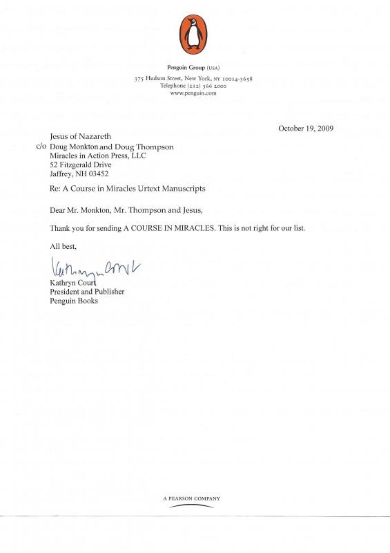 ACIM Urtext Penguin Jesus rejection letter